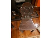 Antique mahogany hall chair with carved shield shape back - Pre Owned