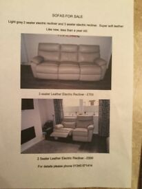 SOFAS FOR SALE - 2 and 3 seater electric recliners for sale. Hardly used, surplus to requirements