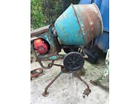 Honda engine cement mixer on tipping stand