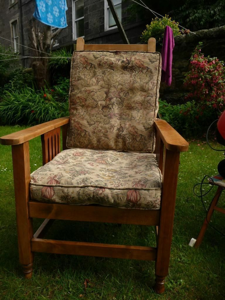 Antique Arts Amp Crafts Reclining Beech Wood Arm Chair