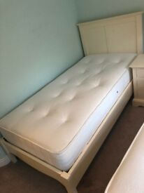 2x White Solid wood beds with mattress