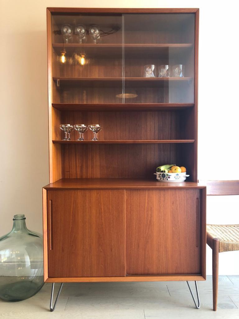 Mid century vintage teak danish bookcase wall unit cabinet on hairpin legs