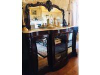 Victorian Serpentine Rosewood Credenza