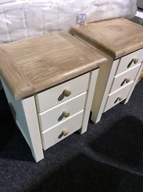 (BRAND NEW) solid oak bedside lockers-65 each