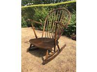 Ercol Dark Wood Grandfather Rocking Chair Good Condition