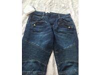 Men's blue Balmain biker jeans W34/L32