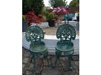 2 METAL GARDEN CHAIRS ONLY £30 FOR QUICK SALE