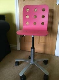 Pink ikea child's office chair
