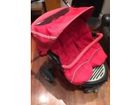 Mothercare Urban Detour Double/Twin (Red) Pushchair, Cosytoes + Raincover. Pick up Wandsworth