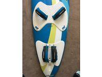 windsurf board, sails and fin