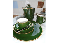 Tea set&Bistro Coffee set&white gold trim cups/saucers - sets inc plates x 8