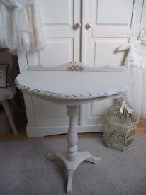 Shabby Chic Half Moon Wooden Table.