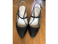 Hobbs Black Patent Sling-Back Heels Size 37.5