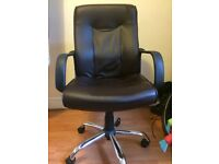 Brown faux Leather Office Chair (has wheels)