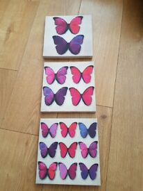 3 Butterfly wall canvases pink & purple