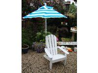 Child's, Adirondak, Garden Chair And Umbrella/Sun Shade.