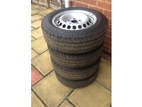 """Vw T5 Transporter 16"""" Steel Wheels and Continental Tyres 205/65/r16c (NEW)"""
