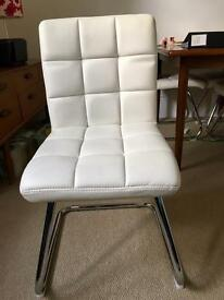 4 padded faux leather dining chairs in off white, retro look