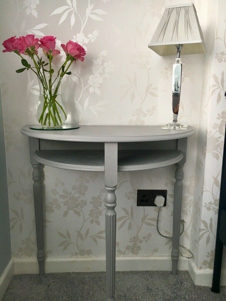 Stylish Hall Table Half Moon Table Console Table In Dove