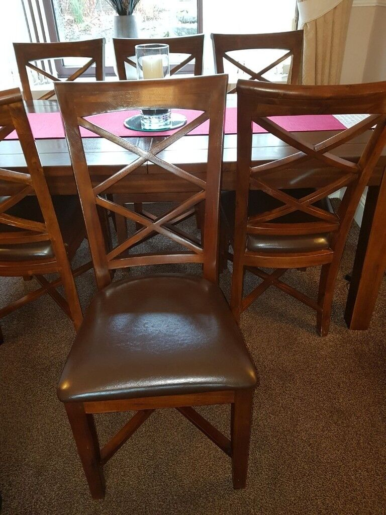 Dining Table And 6 Chairs Dark Oak