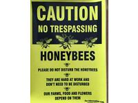 Honey bee signs for hives