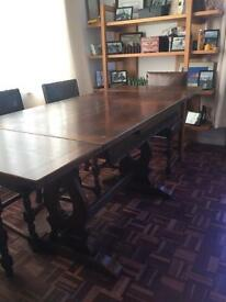 Beautiful old Jacobean mahogany dining table and 4 chairs in brown leather