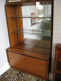Vintage china display cabinet with mirror back and cupboard beneath