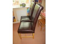 PAIR OF VERY GOOD QUALITY LEATHER DINING CHAIRS BROWN IN COLOUR HARDLY USED