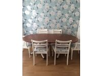 Dining table and 6 chairs shabby chic hand painted, varnished and pvc covered chairs