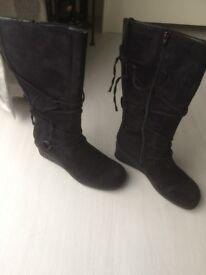 Boots- Black Hi Legged Size 7- Brand New