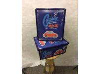 2 x Blue Plastic Vintage Retro Car Design Boxes - STA21