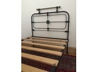 Cast Iron & Brass Bed - Vintage Late 1800's