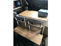 Chicago Solid Wood Table, Bench & 2 Chairs Used for 6 Months