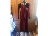 MAROON WITH BLACK VELVET AND GOLD INDIAN DRESS (XS)