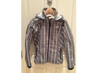 Ladies North Face Ski Jacket, with hood, Blue check. Size Medium