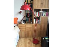 Large Red Angle poise Lamp, very bright rotating arm reading lamp