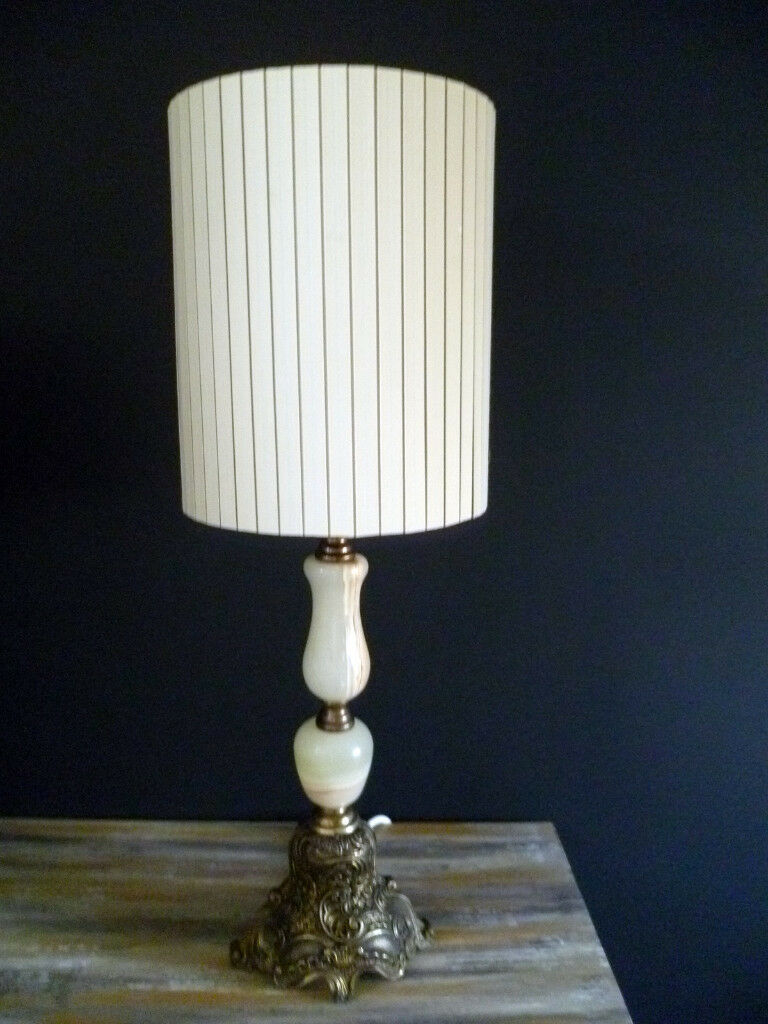 "Vintage Table Lamp: Onyx & Brass Made in Italy 24"" tall"