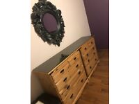 Solid pine wood chest of drawers x 2 with black tinted glass top, excellent condition
