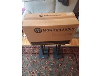 Monitor Audio BX2 speakers with Mission stands