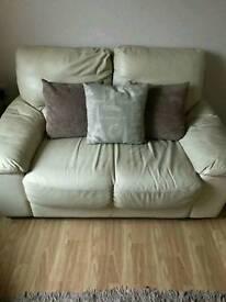 Cream leather double sofas