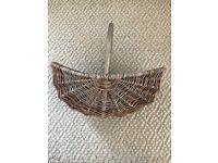 Vintage Curved Wicker Basket with handle. Floristry, flower arranging, bridal, crafts