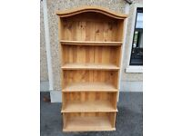 Mexican Pine Bookcase with vintage arch design. Very good condition.