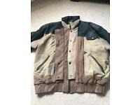 Dark green and beige butter soft leather Large jacket