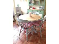 Shabby chic farmhouse solid pine dining table and four chairs