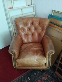 Leather wing armchair John Lewis