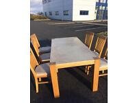 Oak table with 6 oak & fabric Chairs