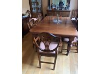 Antique Victorian Mahogany extending dining table with 10 chairs
