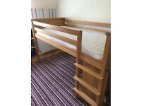 Aspace mid-sleeper oak veneer children's bed