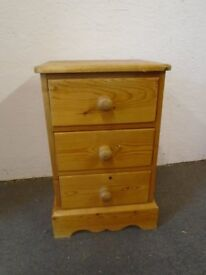 Solid pine bedside, drawers