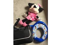 Mamas & Papas kids toilet seat new, boots nurseing bag and Minnie